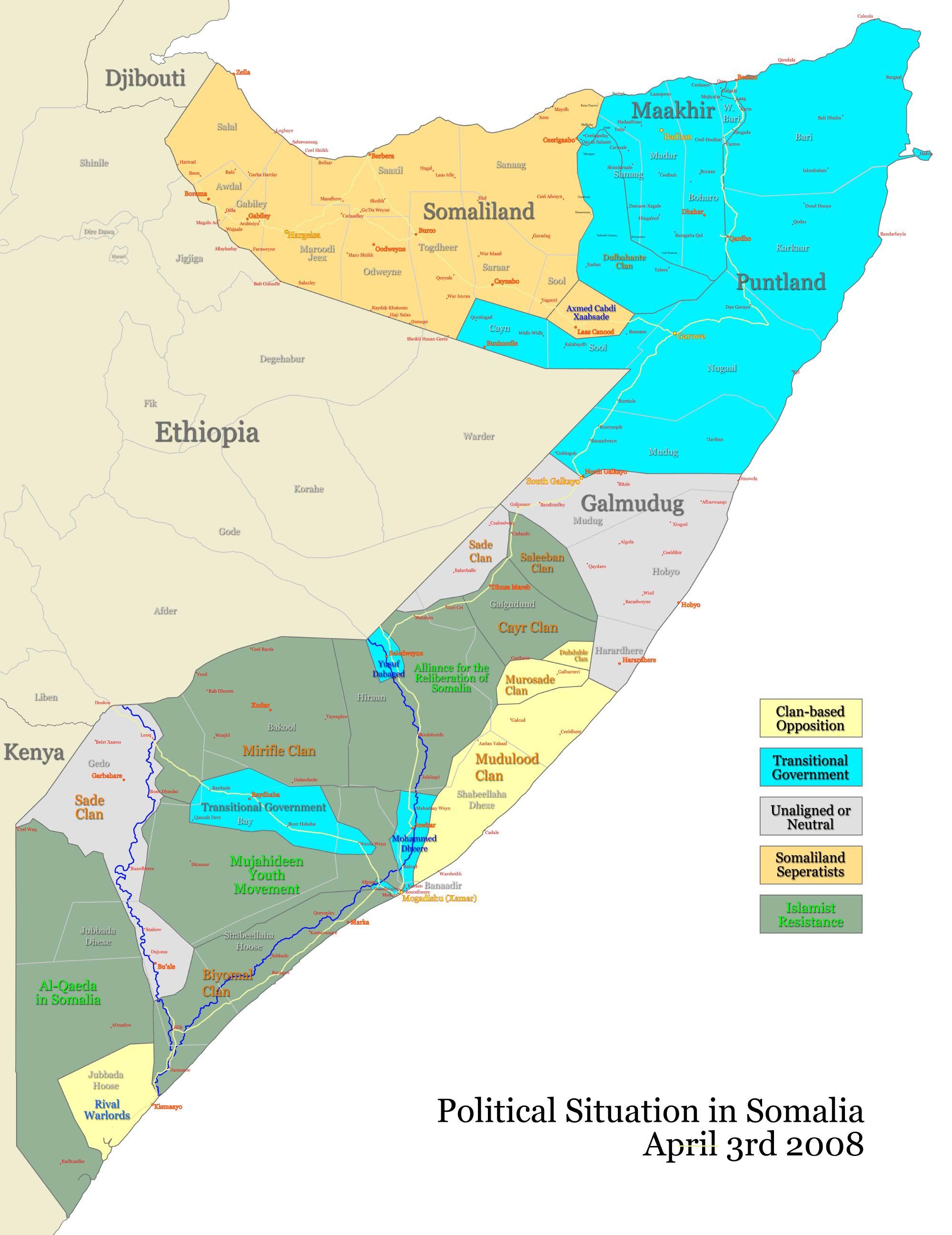 Somalia maps somalia map 2008 april sciox Images